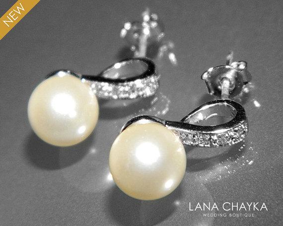 Hochzeit - Ivory Pearl Bridal Earrings Small Pearl CZ Earring Studs Swarovski 8mm Pearl Sterling Silver Posts Earrings Wedding Jewelry Bridal Jewelry