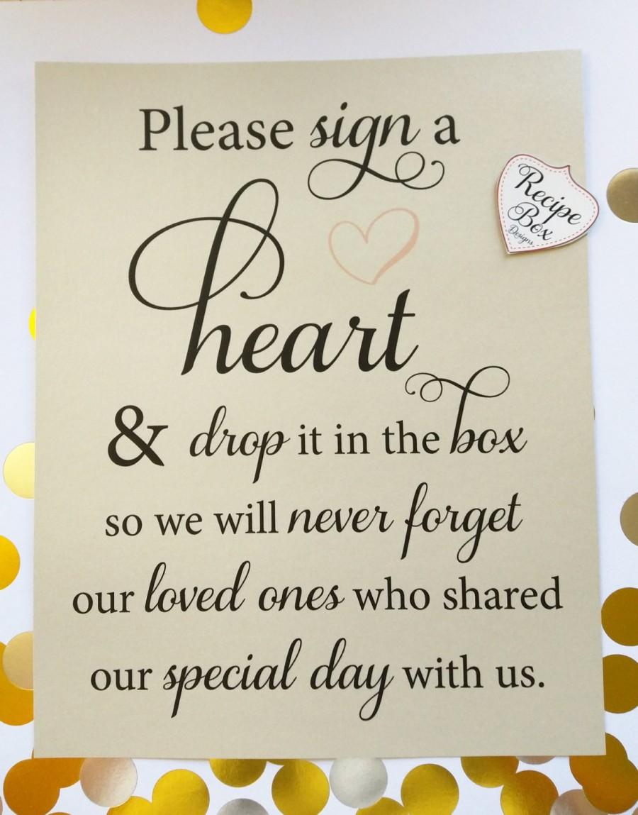 Свадьба - Please sign a heart and drop it in the box 8x10 Wedding Sign, Decoration Sign, Wedding Decor