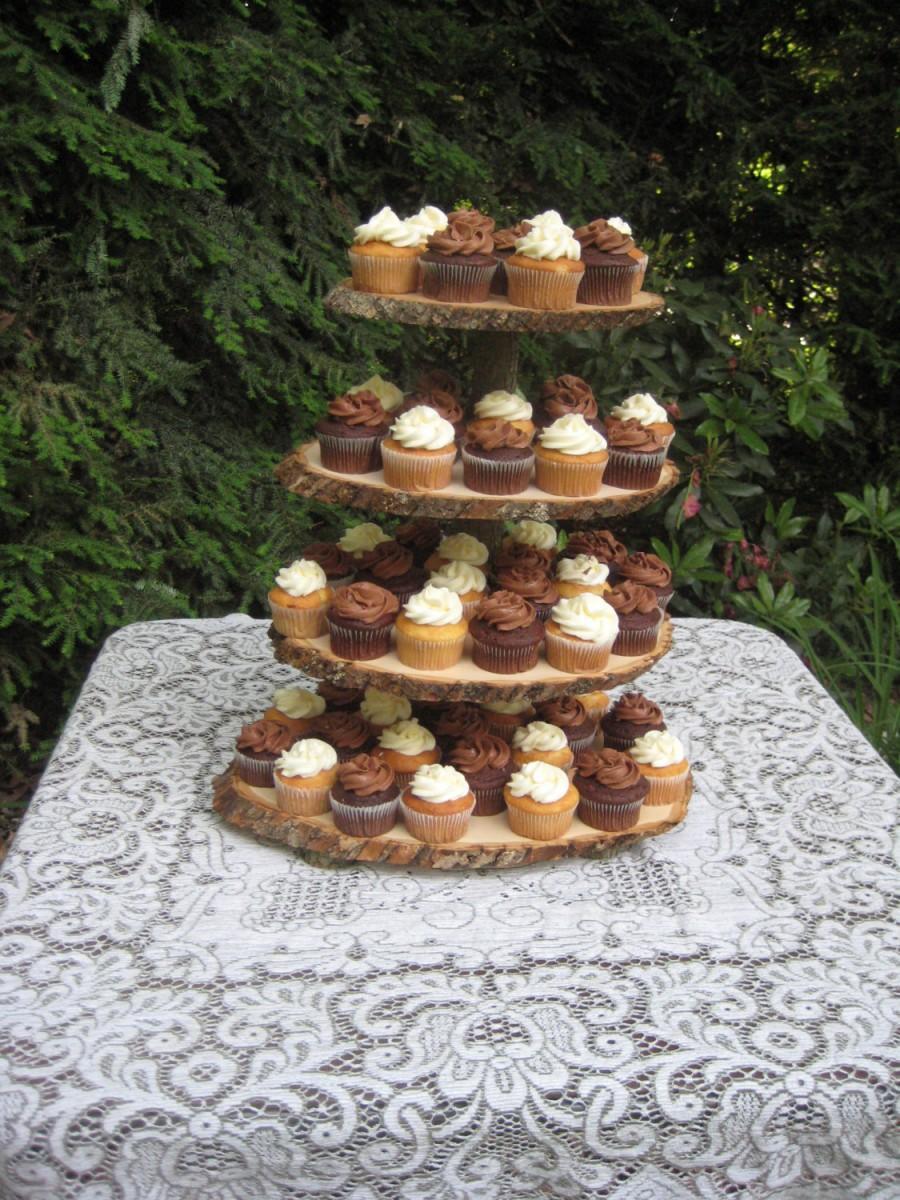 Свадьба - Cupcake Stand Rustic Wedding Log Slices 4 Tier