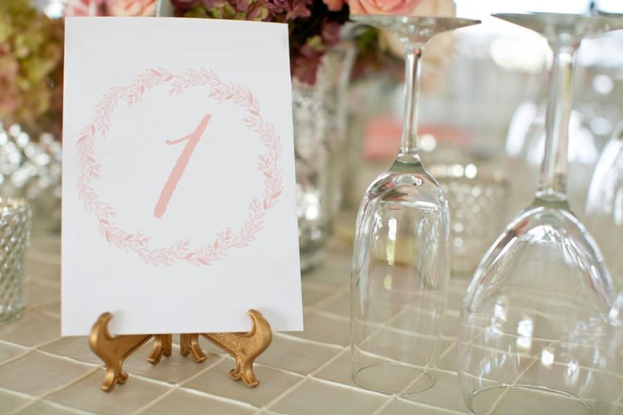 Mariage - Printable Blush Wedding Table Numbers, Printable 5x7 Table Number Cards, INSTANT DOWNLOAD, Wedding Table Number Cards, Vintage Wedding Decor