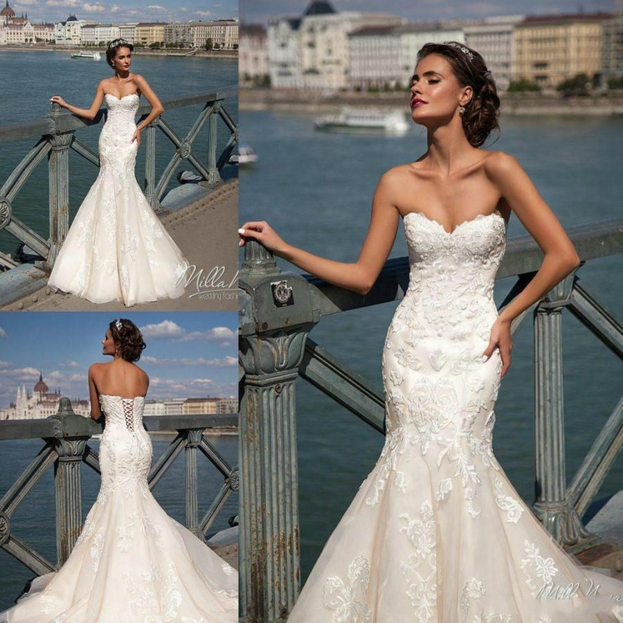 Charming Ivory Mermaid Wedding Dresses Sweetheart Full Lace ...