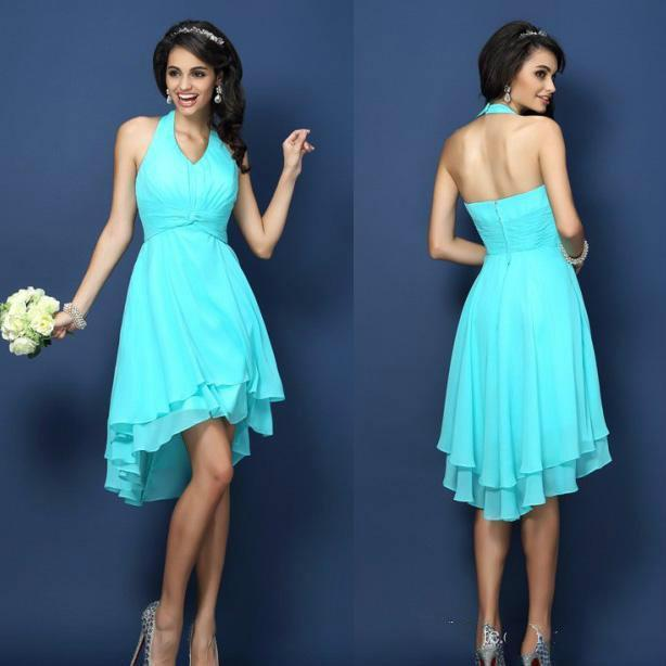 774533aa47 Stunning Halter Neck Bridesmaid Dresses Cheap Ruffles Chiffon Girl s Dress  For Wedding Ruched Short High-Low A Line Party Evening Gowns Online with ...