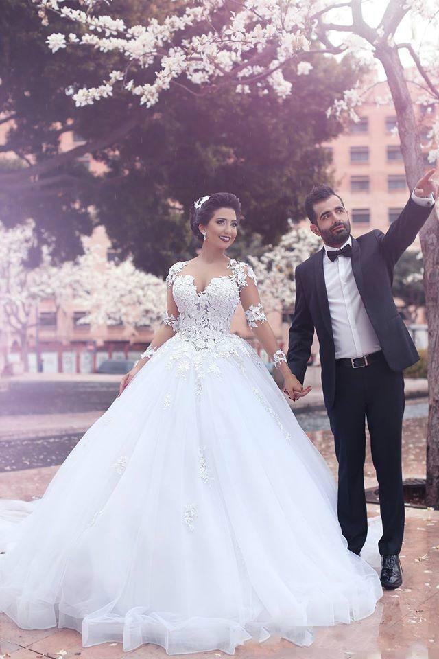 Elegant Said Mhamad Long Sleeves Ball Gown Wedding Dresses 2016 ...