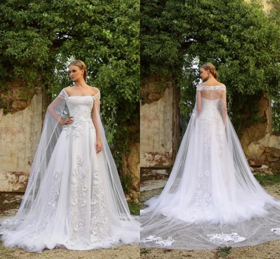 Lastest design wedding dresses 2016 summer white lace for Wedding dress with cape train