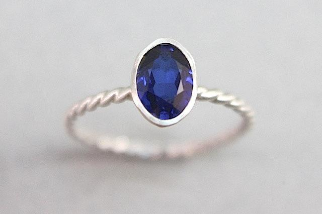 Wedding - Sapphire Ring Solitaire - Recycled Silver, Ethical Gemstone - Cocktail or Engagement Ring - September Birthstone