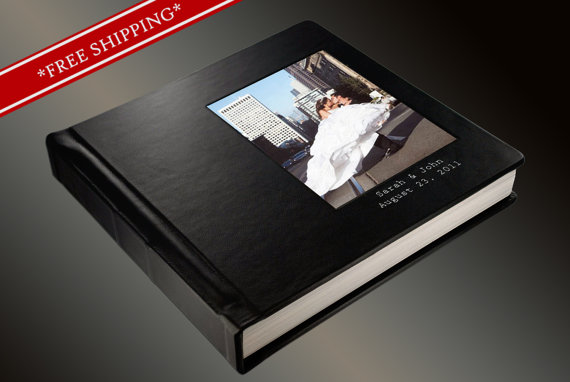 Wedding - Photo Album Flush Mount Wedding Album with 2 lines of Imprinting - Custom Photo Album 10 x 10 Genuine Leather Cover - Wedding Album