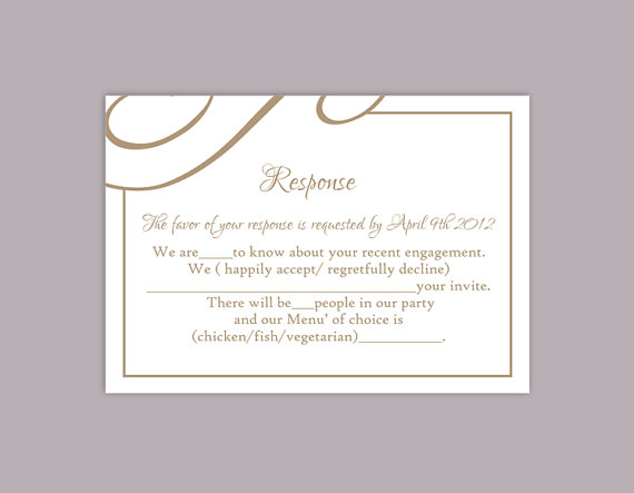 Diy wedding rsvp template editable text word file download printable rsvp cards brown rsvp card for Wedding rsvp templates