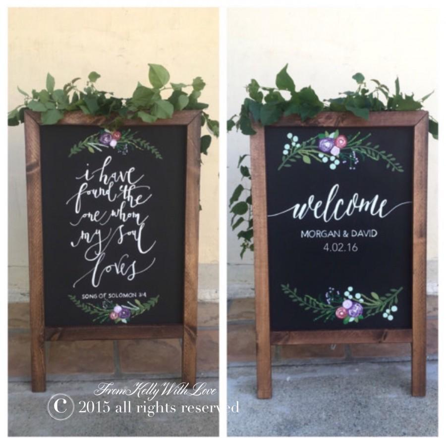 Mariage - Welcome wedding sign, double sided chalkboard sandwich sign