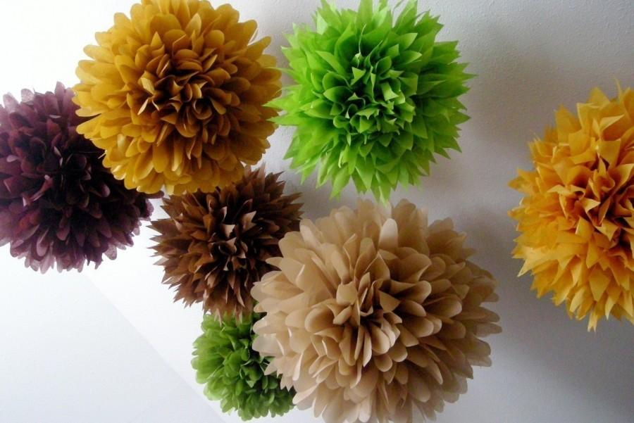 Mariage - WOODLAND ... 10 tissue paper poms // wedding decorations // diy // paper flowers // forest theme