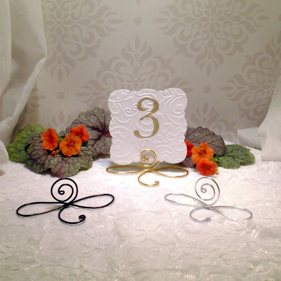 Mariage - 25 Large Wire infinity Bow table number holders, black, gold and silver table number holders, wedding table number holders