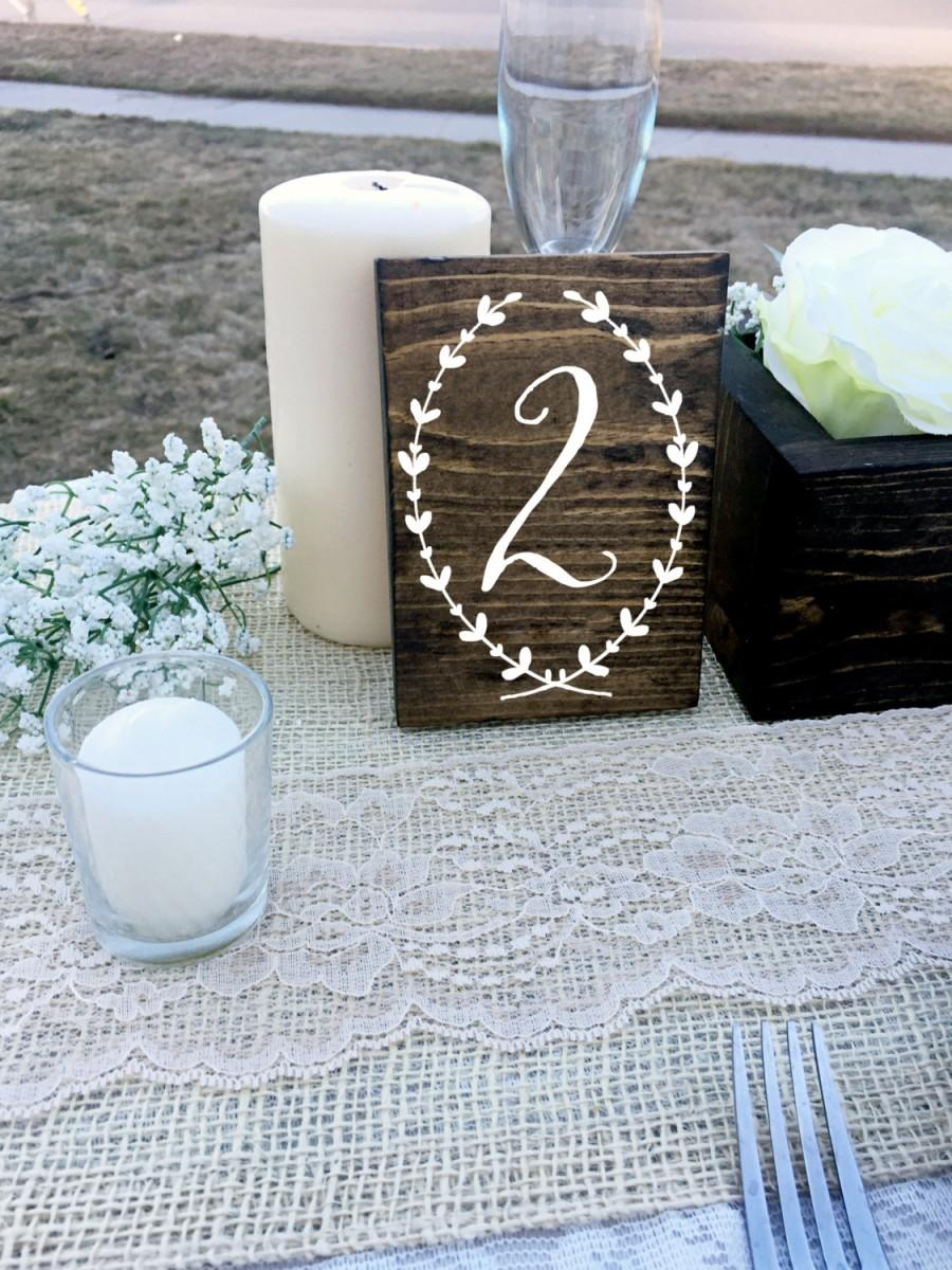 Mariage - Wedding Double Sided Table Numbers, Wreath, Script, Cursive Wooden Table Numbers, Rustic, Wood Table Numbers, Calligraphy Table Numbers