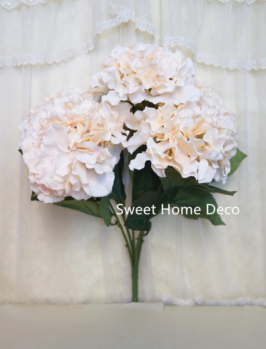 "Свадьба - JennysFlowerShop 18"" Super Soft Silk Hydrangea Artificial Flower Bush (5-stem, 5 mop Heads), with No Pot Cream/Iovry"