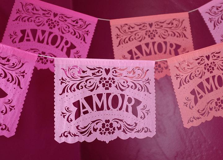 Mariage - Wedding decorations - Papel Picado garland - AMOR - custom color