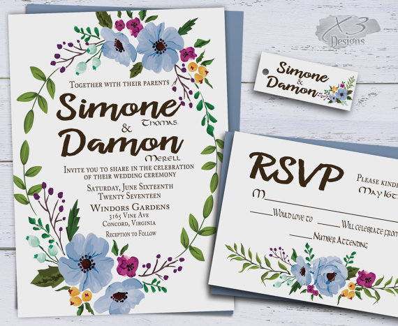 Printable Floral Wedding Invitations, Country Wedding Invite, Boho ...