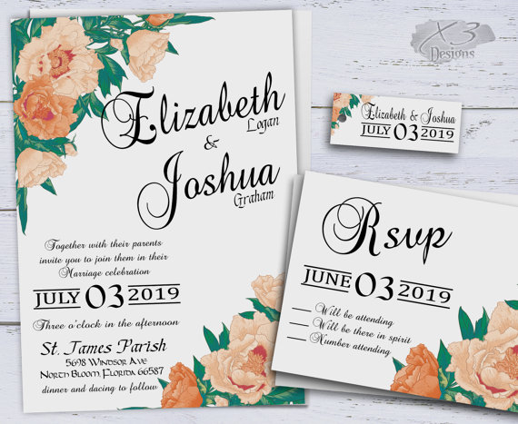 country wedding invitations printable peach summer wedding invitation spring floral wedding invites calligraphy rustic boho peonies - Summer Wedding Invitations