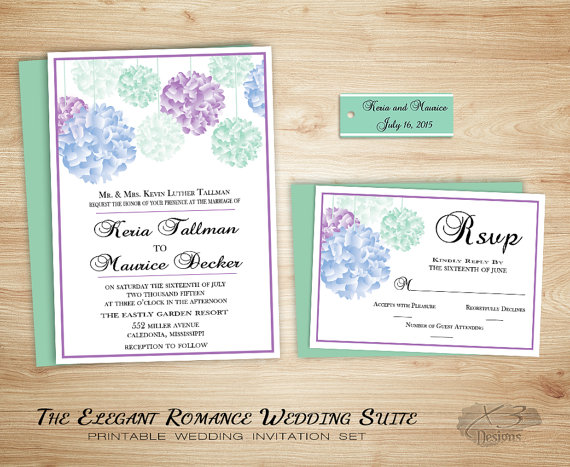 Spring Country Wedding Invitation Printable Rustic Wedding