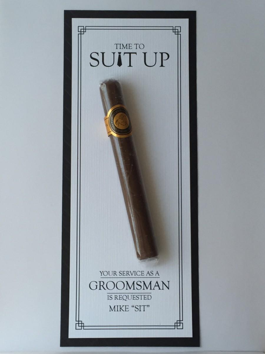 Wedding - Groomsman Card, Cigar Card, Suit Up, Will You Be My Groomsman Your Service Is Requested Best Man, Ring Bearer, Usher Way to Ask Wedding