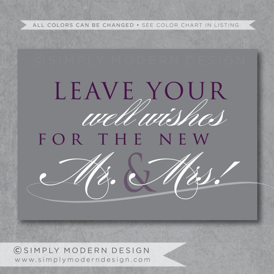 Wedding - well wishes wedding sign, wedding sign, reception, cards, PRINTABLE