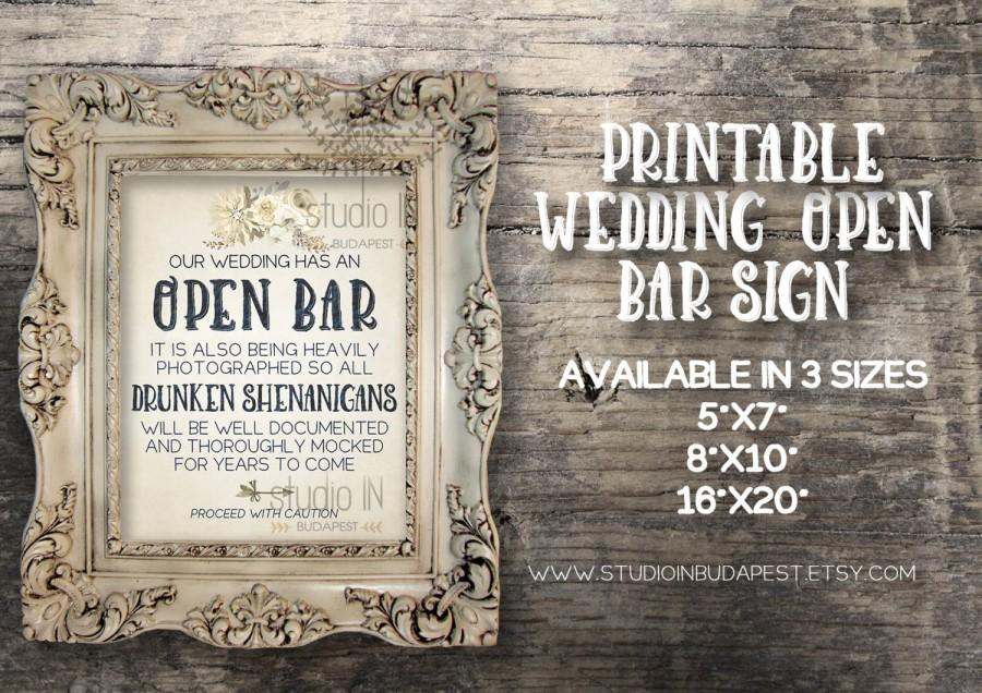 زفاف - Open bar sign, Rustic wedding sign, Wedding reception, printable wedding bar decorations, country wedding sign, rustic open bar sign
