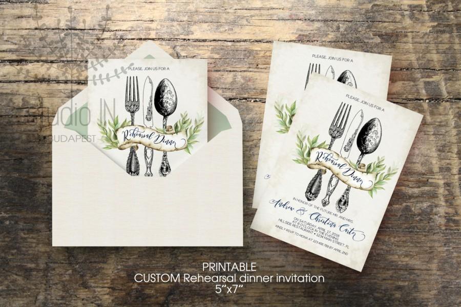 Wedding Rehearsal Dinner Invitation Custom Printable 5x7 Rustic