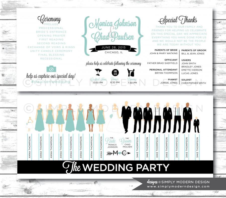 Wedding Program Ceremony Party Silhouettes PRINTABLE