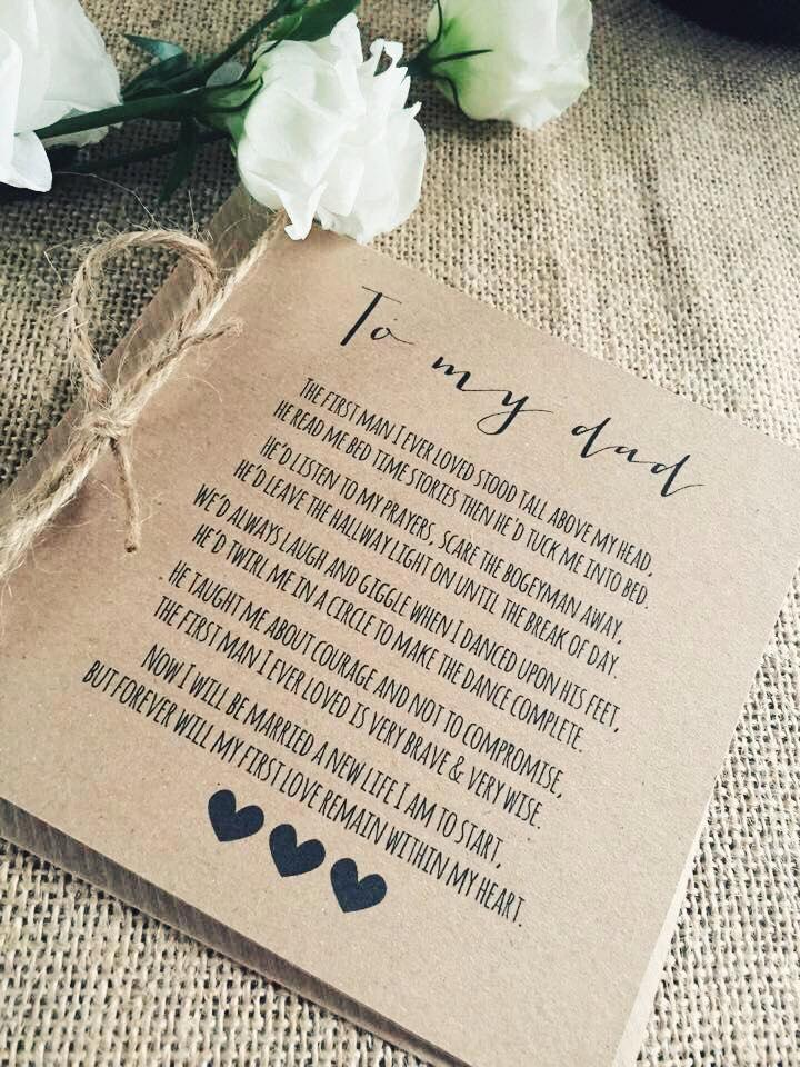 Wedding - Vintage/Rustic 'To My Dad' wedding Day Poem Card - show dad he is special!