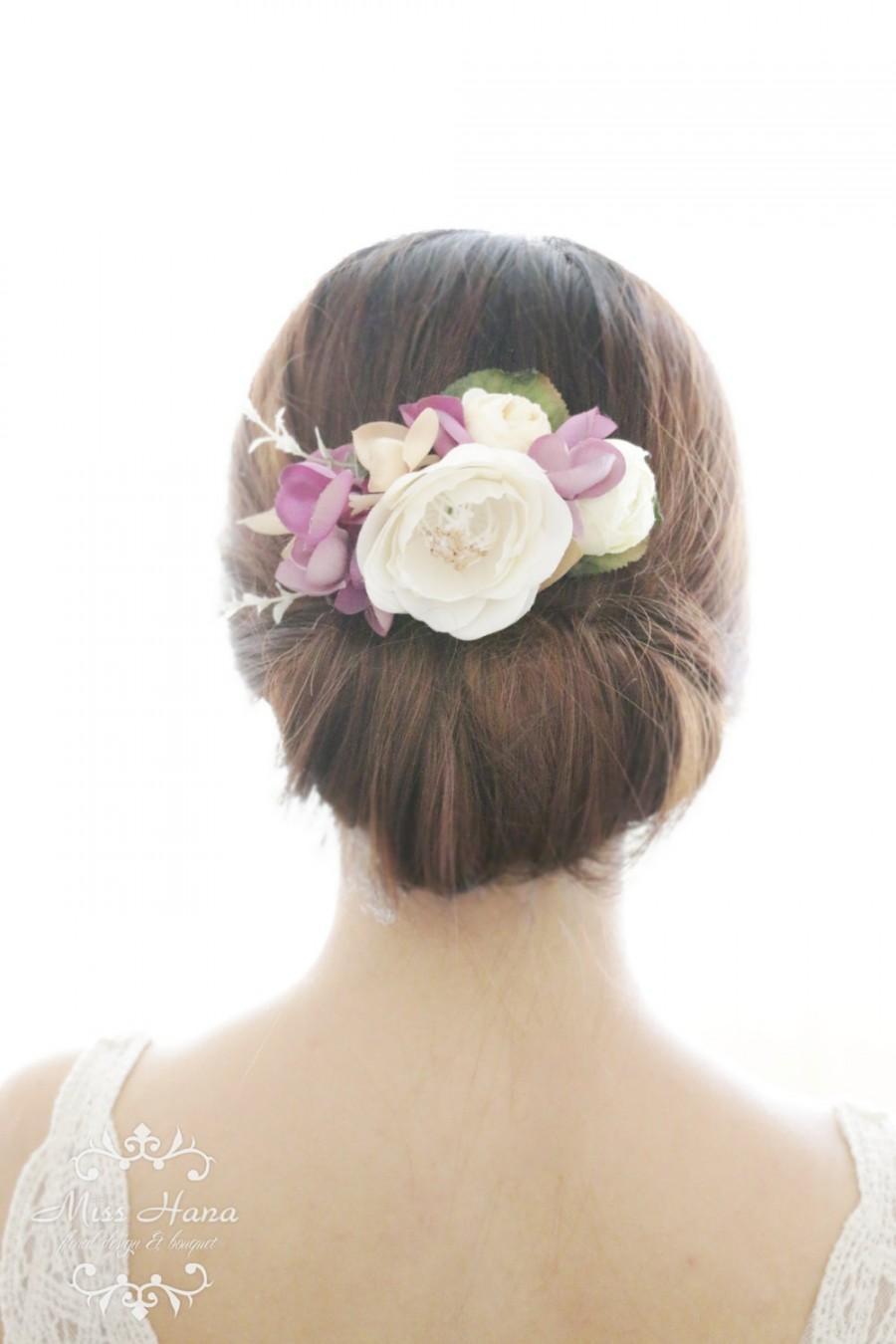 Bridal Hair Accessory White Camellia Purple Hydrangea Bridal Hair