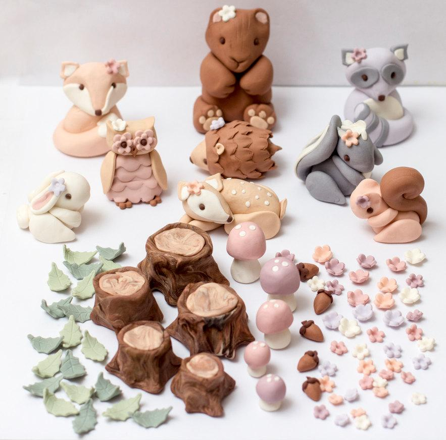 Mariage - Feminine pastel fondant woodland toppers - Ready to ship in 1-2 weeks