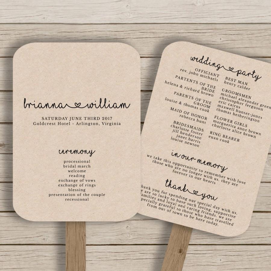 Wedding Fan Program Template - Rustic Wedding Fan Printable - YOU ...