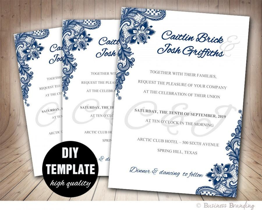 Navy Blue Wedding Invitation Template DIYInstant Download - Diy template wedding invitations