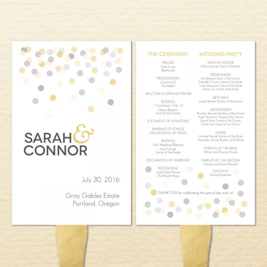 confetti printable wedding program fan diy ceremony program fan