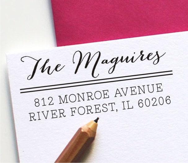 Свадьба - Calligraphy Return Address Stamp - Self Inking - wedding stamp - housewarming gift (124)