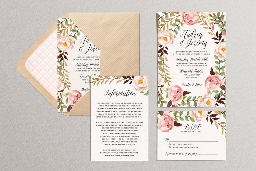 Printable Wedding Invitation Set Fl Suite Diy Watercolor Garden Invites Spring Summer Theme Blush Pink