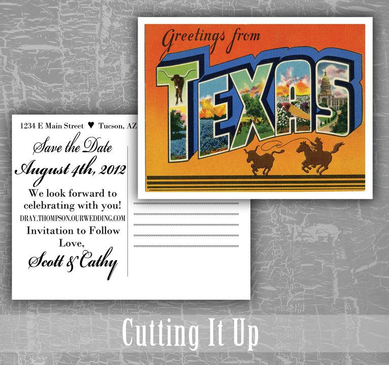 Свадьба - Texas Save the Date Postcards, Greetings From Texas, Texas Wedding, Postcard Save The Date, Memphis Wedding, Utah, Destination Wedding