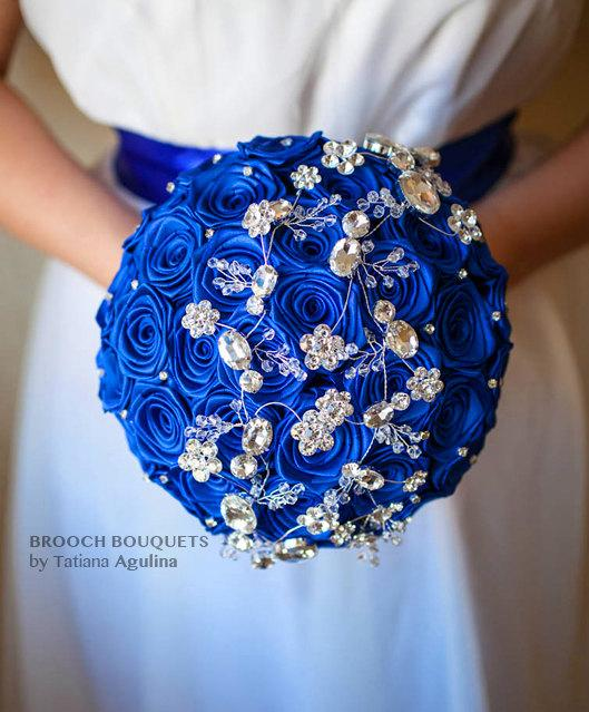 Hochzeit - FULL PRICE! 8'' Blue and Silver crystal brooch bouquet. Ready to ship!