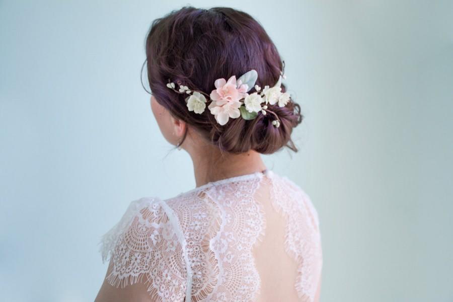 زفاف - Wedding hair clip, Pink flower bridal headpiece, Bridal hair vine, Wedding hair accessories, Pink flower hair clip - GRACE