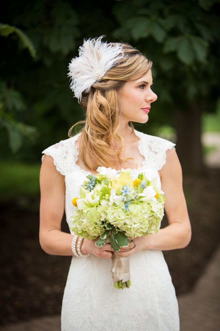 Mariage - Wedding Bridal Fascinator, Bridal Fascinator, Feather Fascinator , Wedding Veil, Bridal Headpiece - The Couture Bride