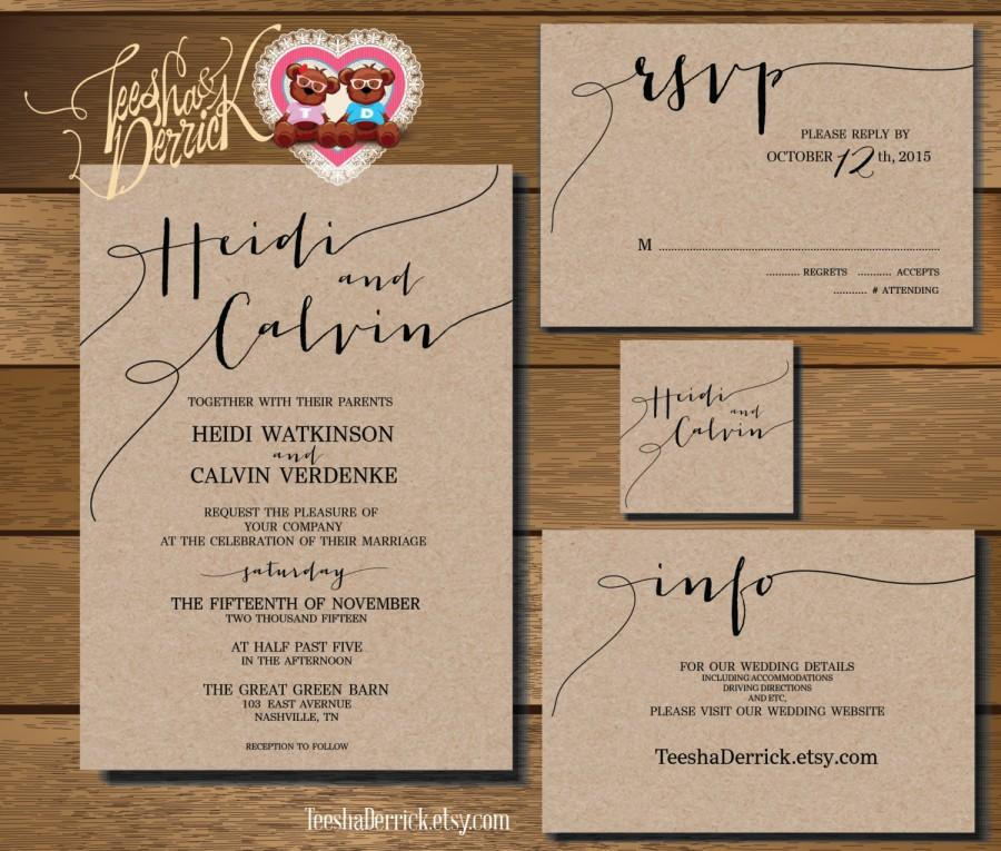Свадьба - Printable Wedding Invitation Suite  (w0175), consists of wedding invitation and R.S.V.P. card, wedding monogram and info card designs.