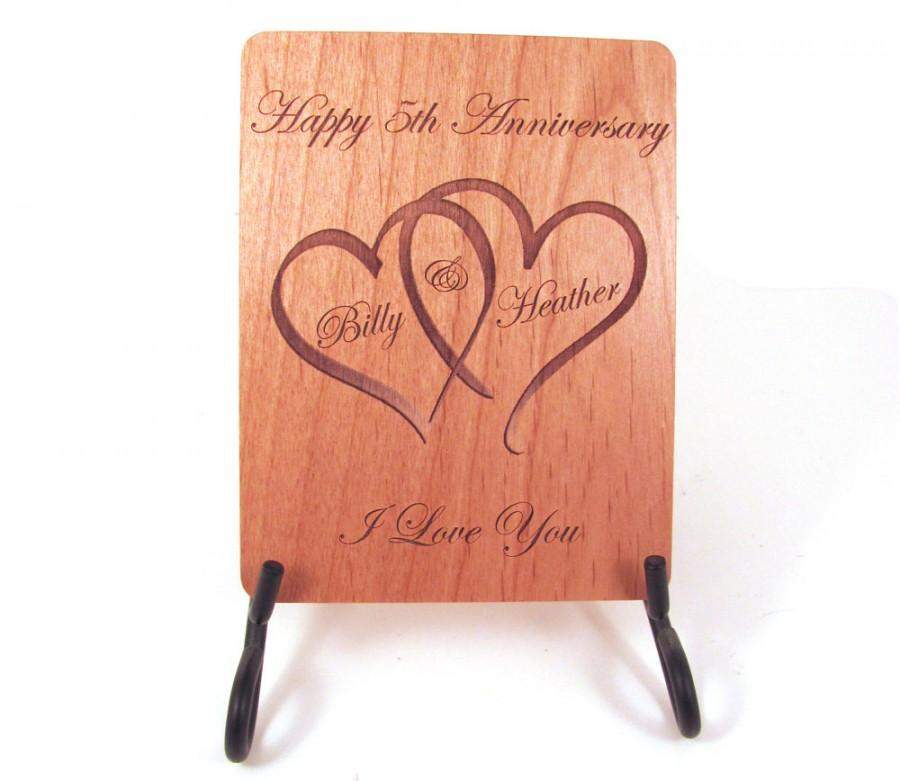 Свадьба - Anniversary Card - 5 Year Anniversary Wood Card - Personalized Engraving