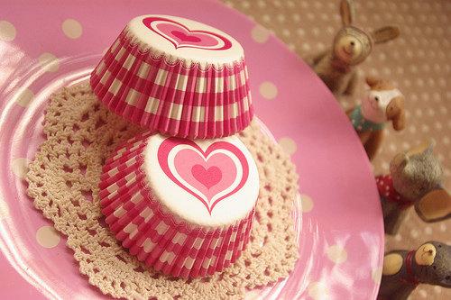 Wedding - Pink Heart Gingham Picnic Cupcake Liners (50)