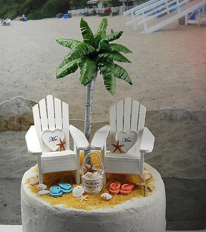 2f47e6197a65b 5 Inch Cake Top Beach Hearts Wedding Cake Topper Custom Handmade To Order  Artisan Palm Tree