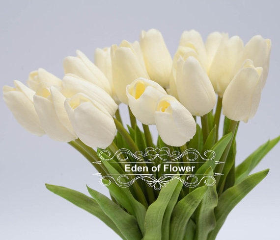 Mariage - Ivory Tulip Real Touch Flowers for wedding bouquets, centerpieces, home decoration, vase arrangement