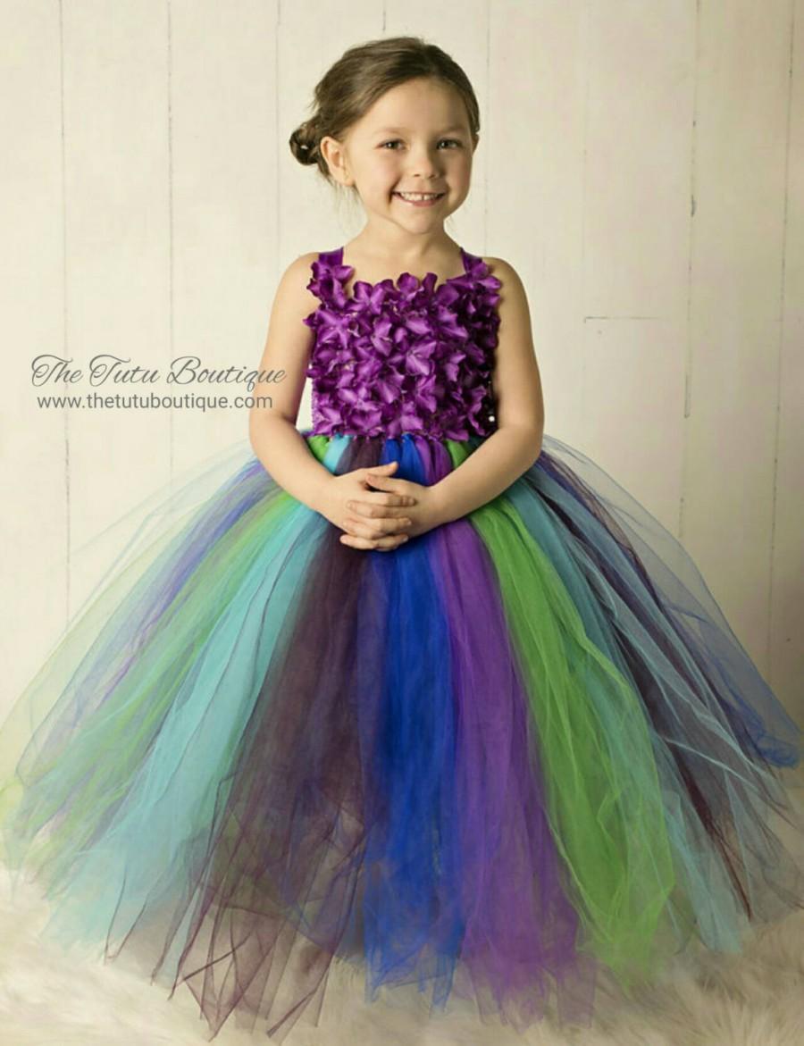 Свадьба - Peacock Tutu Dress, Wedding, Cute Dress up Dress, Gift, Birthday Tutu Dress, Flower Girl Dress, Fun Play