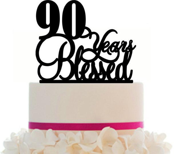Mariage - 90th Birthday/Anniversary Cake Topper Personalized 90 Years Blessed Cake Topper Removable Spikes and Free Base With Over 25 Different Colors