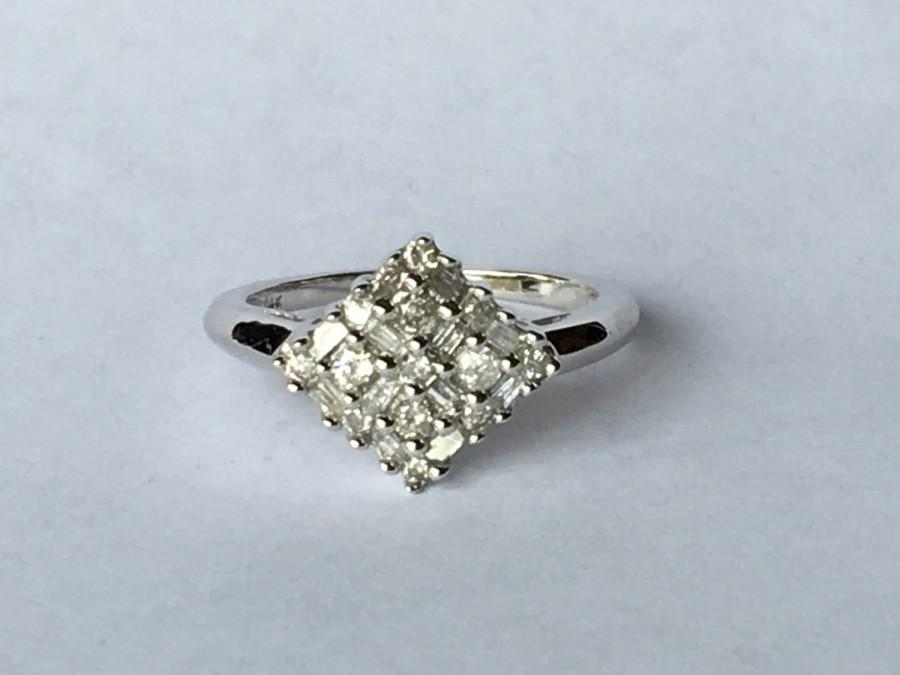 Mariage - Vintage Diamond Cluster Ring in 14K White Gold. Art Deco Design with .85 TCW. Unique Engagement Ring. April Birthstone. 10 Year Anniversary