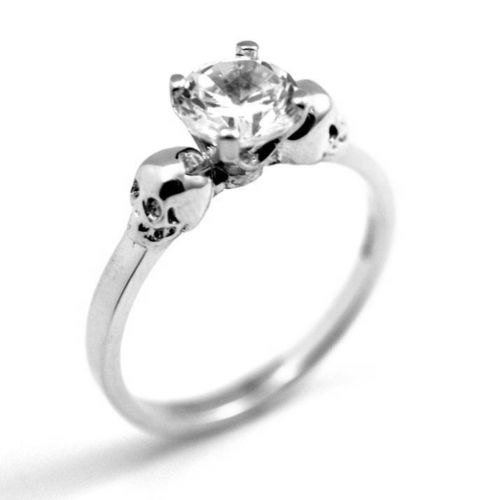 Mariage - Skull Ring Sterling Silver Diamond-Unique Hand Crafted Engagement Ring set with Diamond