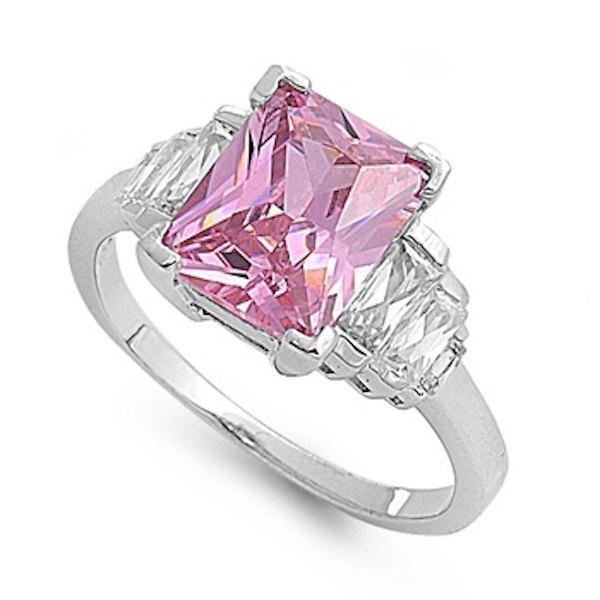 3.80 Carat Rose Pink Swarovski Crystal Emerald Cut Baguette Russian Ice  Diamond CZ Triple Rectangular Cocktail Ladies Ring 7846246b30