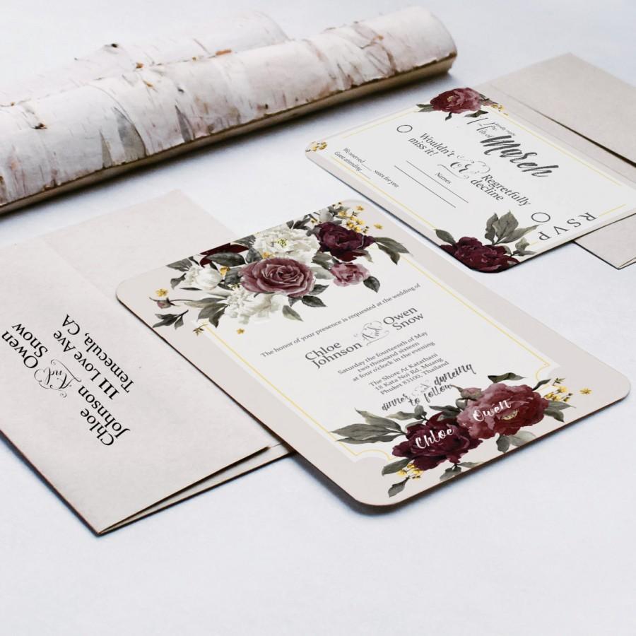 Свадьба - Elegant Floral / Flower Wedding Invitation 2016
