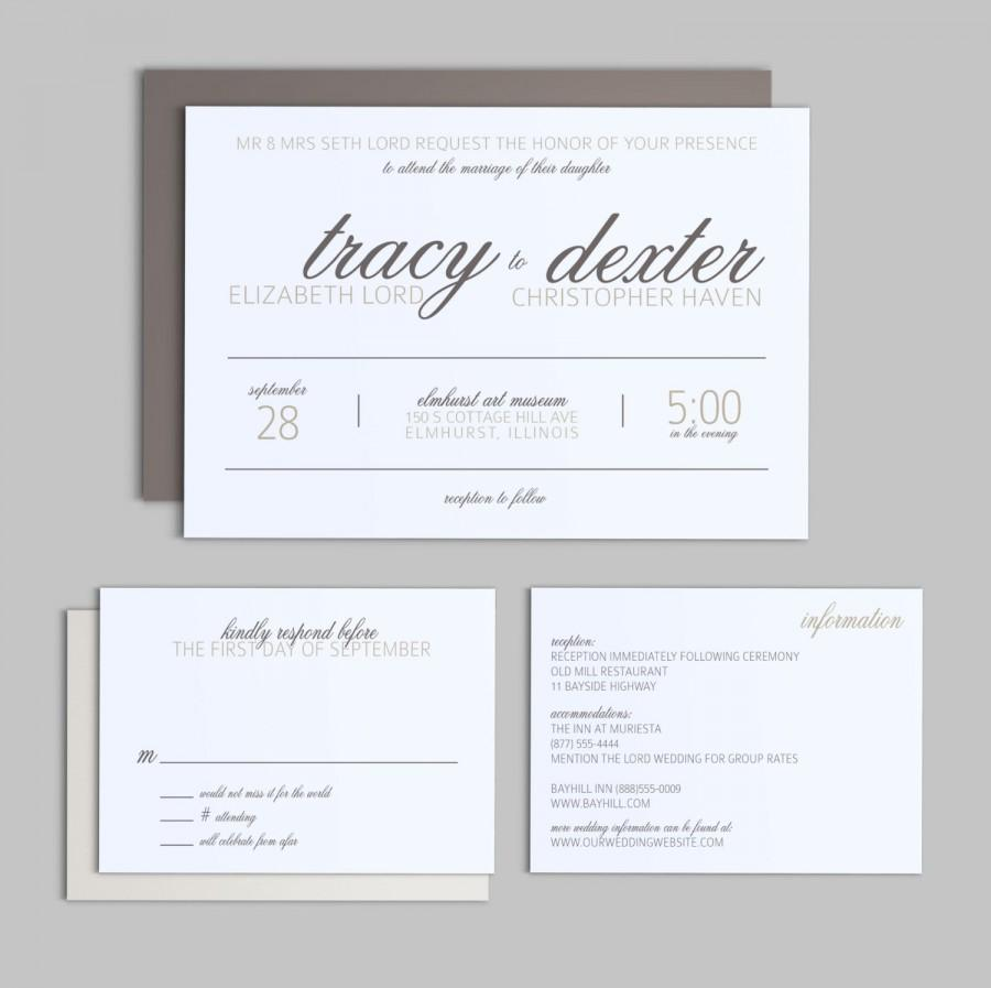 Printable wedding invitation set simple script wedding printable wedding invitation set simple script wedding invitation enclosure card and rsvp stopboris Choice Image