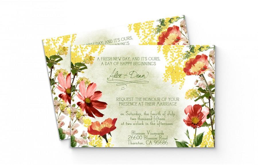 زفاف - Watercolor Floral Wedding Invitation • Wildflower Wedding Invitation • Printable Wedding Invites • Boho Wedding • Bohemian Wedding • Flowers